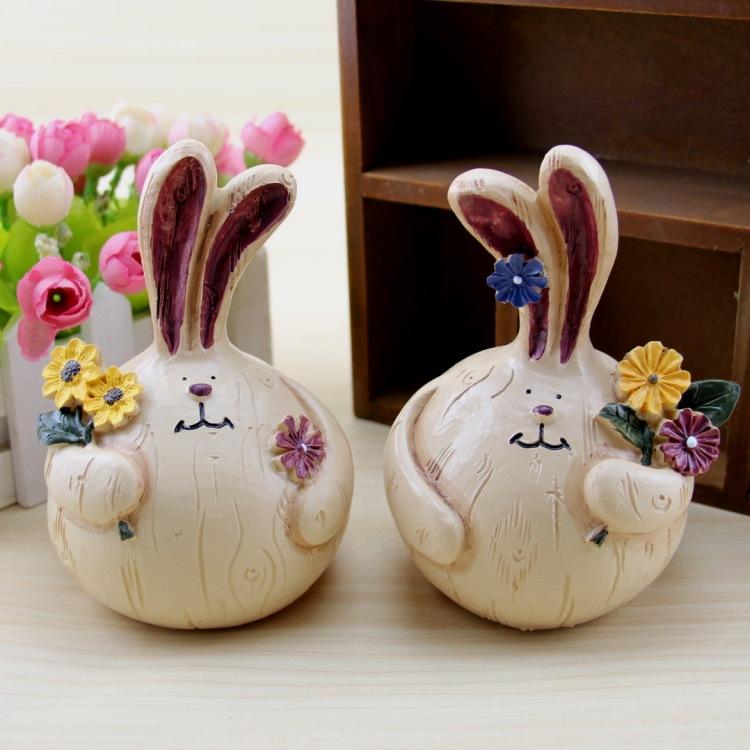 佳朵 创意杂货店摆件大蒜兔树脂工艺品礼品可爱胖兔 小号大蒜兔 对装