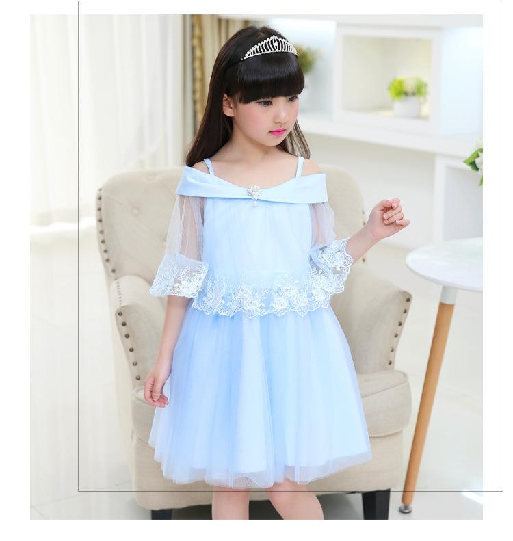 连衣裙夏季童装儿童花边公主裙大童女孩礼服网纱裙子