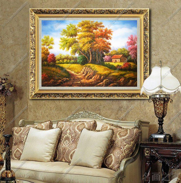 酒店配画手绘油画美画正品欧式古典风景大堂走廊行李架挂画 定制 6cm