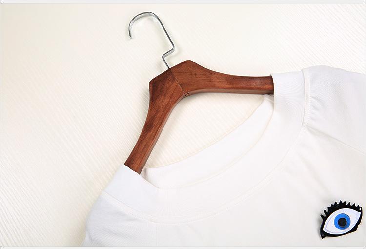川莉欧美风女装夏装新款眼睛图案短袖女式t恤 条纹时尚阔腿裤女士套