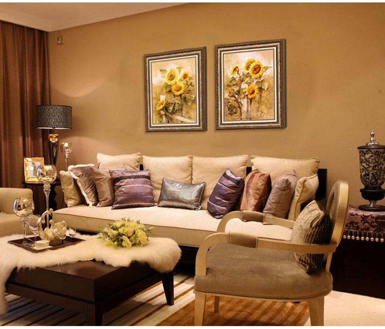 客厅欧式装饰画油画餐厅风景有框壁画沙发背景墙壁画植物印刷挂画图片
