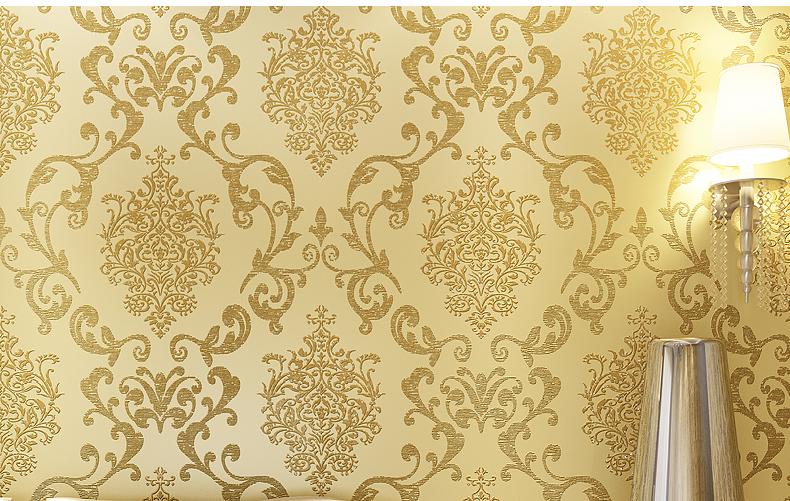 爱舍东方 欧式奢华立体3d发泡墙纸 卧室客厅满铺壁纸(米色 10m*0.53m)图片