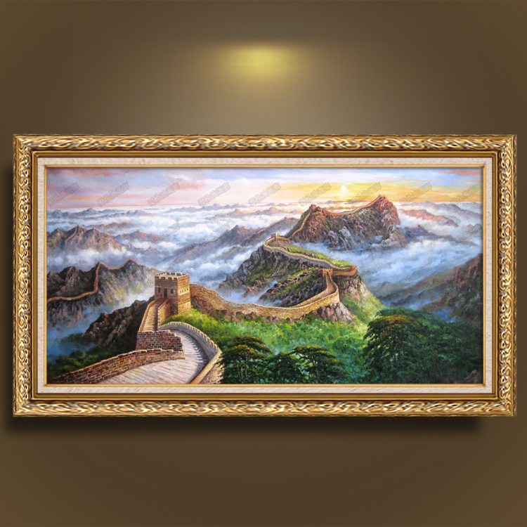 油画纯手绘油画风景长城山水瀑布挂画客厅别墅办公室玄关有框画 白色