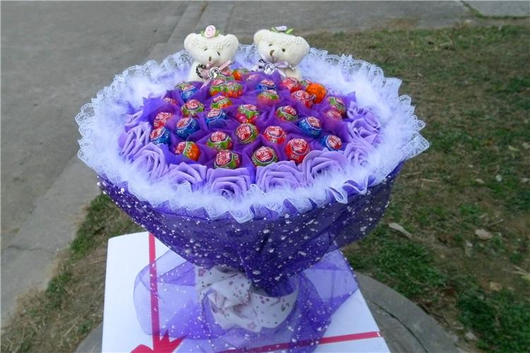 腾彩棒棒糖花束糖果花束生日礼物创意送女生闺蜜卡通花束毕业礼物l2图片