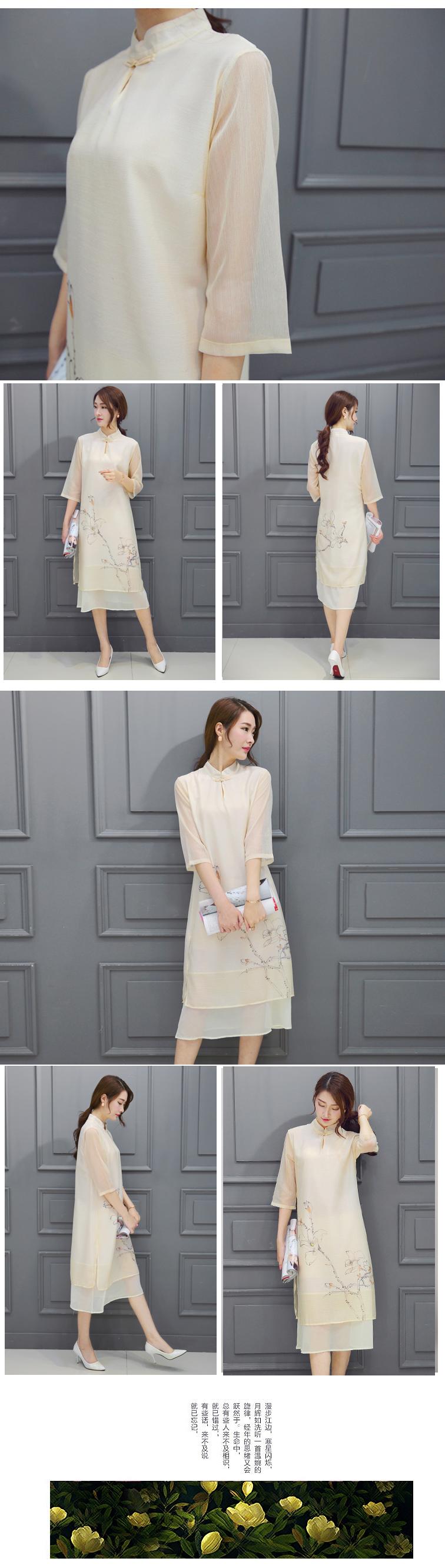 夏季新款丝麻印花立领手绘连衣裙宽松时尚中