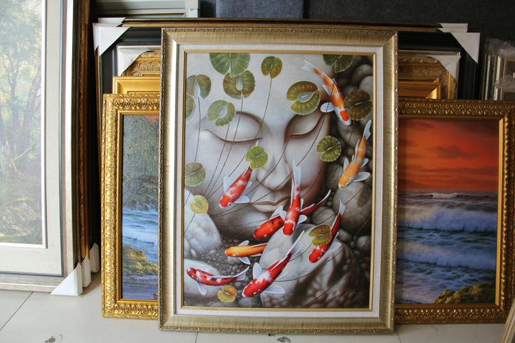 纯手绘油画佛像九鱼图高档油画玄关装饰画客厅餐厅酒店有框画挂画