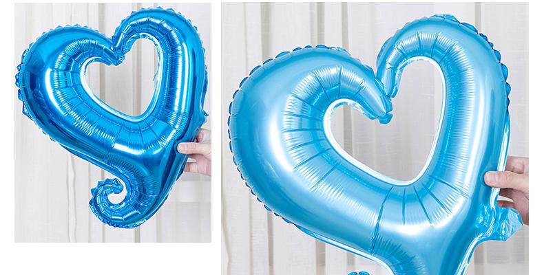 靓霜凝 18寸小勾勾心形铝箔气球 空心爱心铝箔铝膜气球 结婚庆婚房