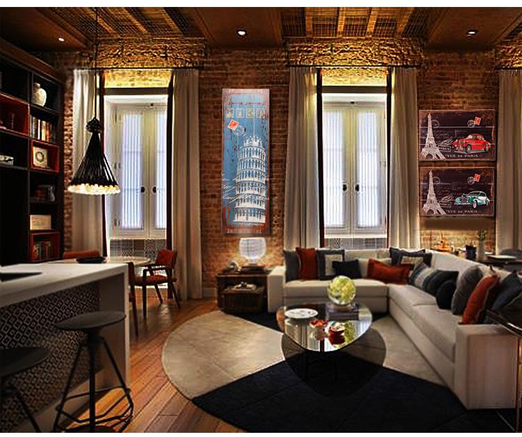 腾彩复古创意木板画服装店饭店男生房间卧室墙面上墙壁装饰品室内挂件