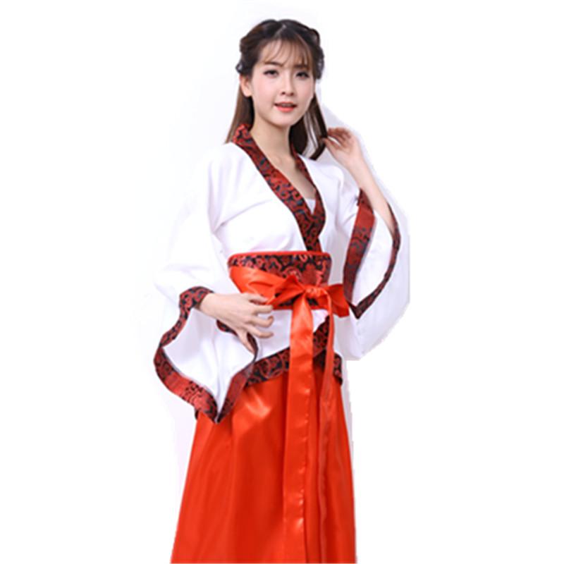 新款古装汉服礼服女宫装宫女演出服公主贵妃传统服装舞台表演服 红色