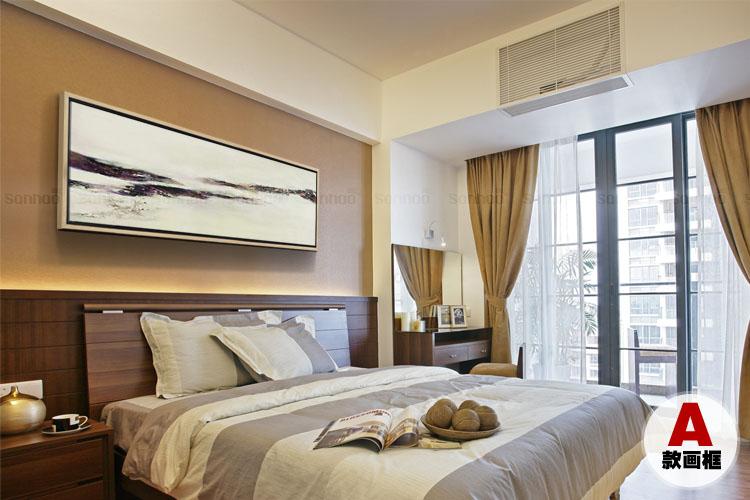 赵无极装饰画抽象油画欧式现代客厅沙发背景墙床头纯手绘横版挂画 b款图片