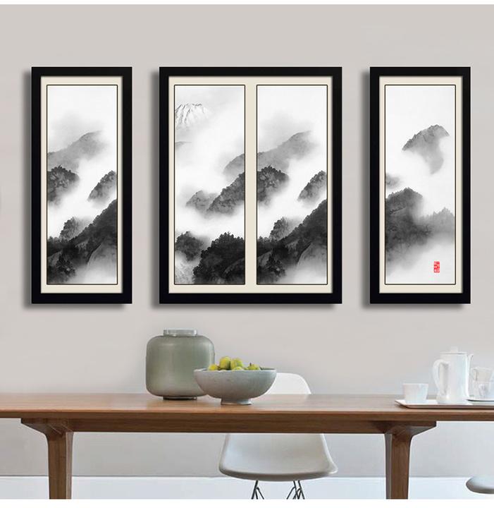 新中式沙发背景墙三联装饰画 餐厅壁画 茶室禅意挂画