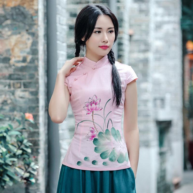 手绘荷花少女旗袍上衣校园风女式唐装上衣改良日常民族风6020fz241