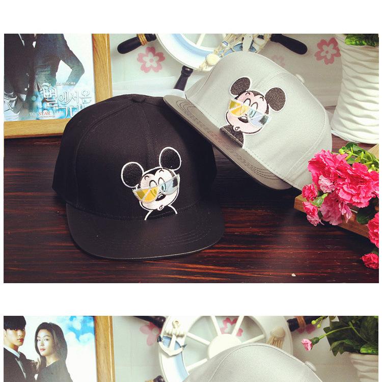 米奇老鼠戴眼镜成人棒球帽子平沿 可爱嘻哈帽夏季韩版女生鸭舌帽 灰色