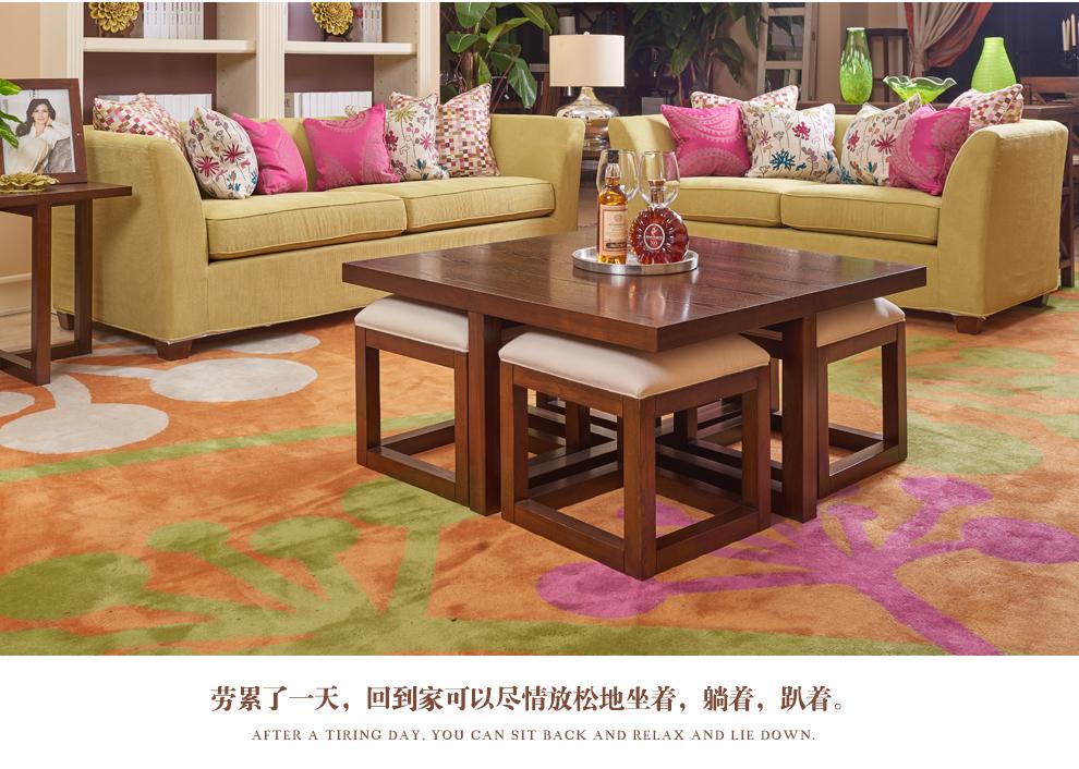 融峰 美式实木布艺沙发 小户型休闲沙发组合sf006 1 2