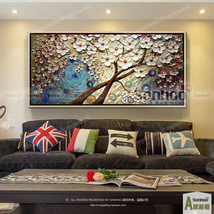 发财树油画欧式客厅沙发墙抽象画走廊玄关横版装饰画酒吧餐厅宾馆 d款图片