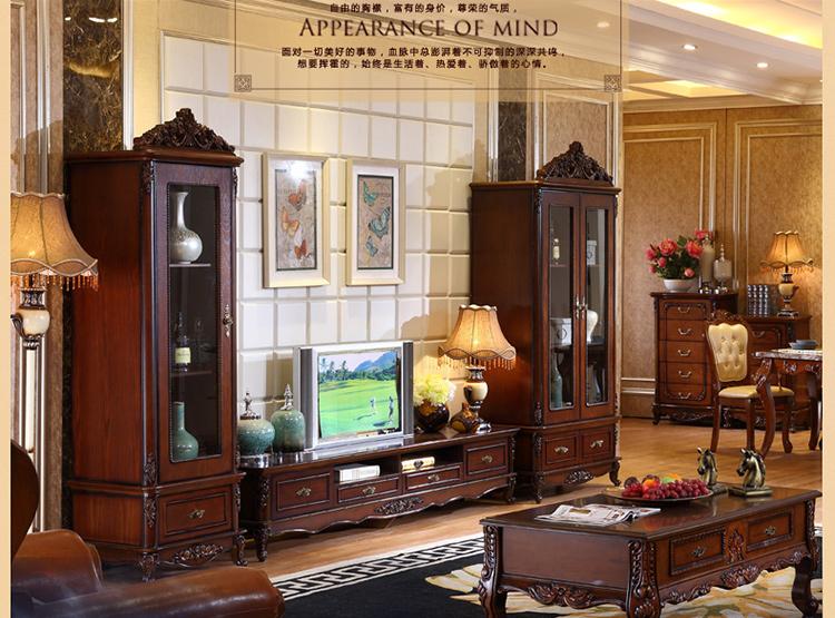 梵式 美式乡村实木玻璃酒柜 实木雕花复古装饰 客厅双门展示柜可储物图片