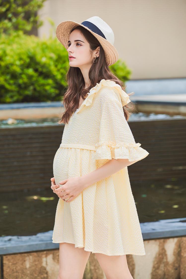 法玛莎孕妇装连衣裙夏季新款时尚可爱小清新高腰宽松棉短袖孕妇裙