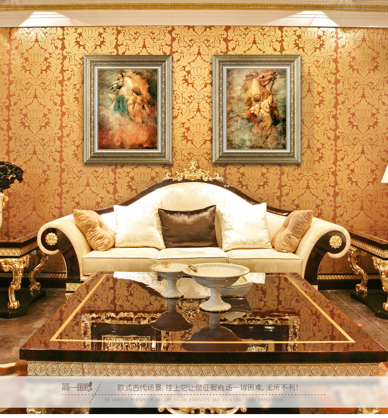 简一画廊 欧式客厅沙发背景装饰画 美式玄关挂画有框画 征服 jy177(ab图片