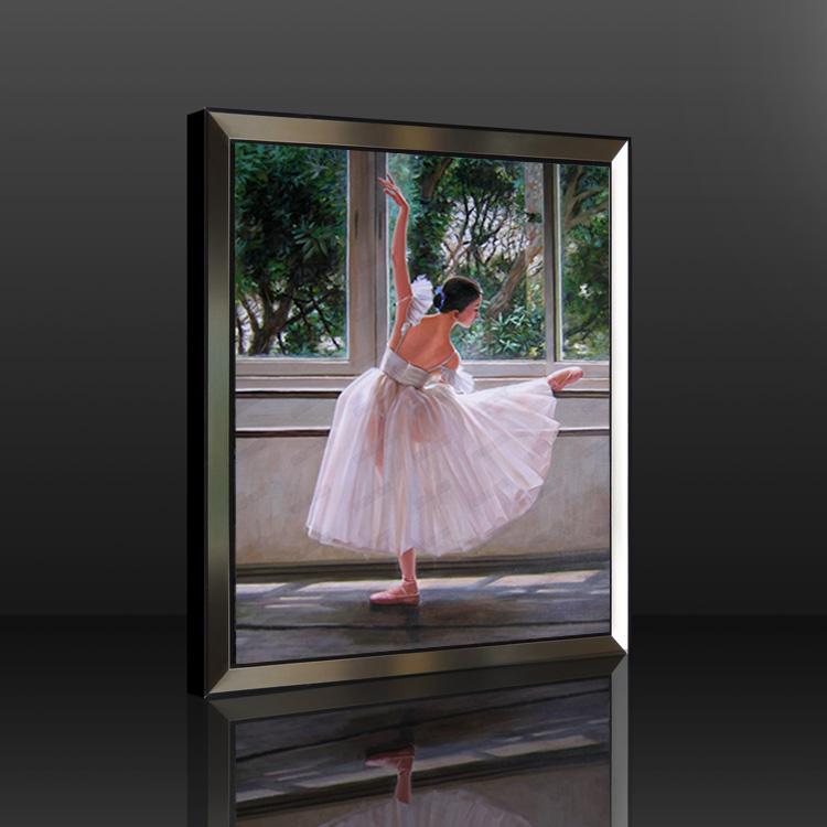 油画有框纯手绘人物油画芭蕾舞女别墅客厅卧室高档挂画竖构图 红木色