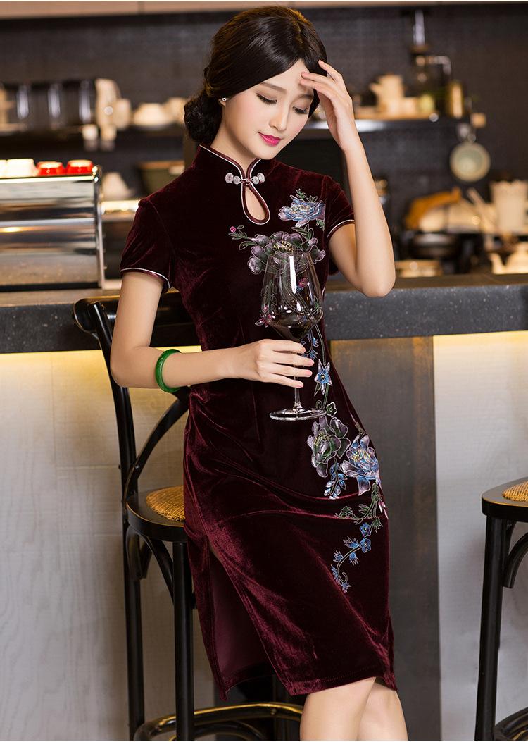 短款手绘金丝绒旗袍裙中式改良时尚结婚礼服敬酒服春夏fz241 紫色 m