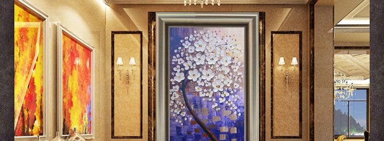玄关立体油画纯手绘装饰画简欧家居走廊楼梯挂画 墙面壁画 发财树