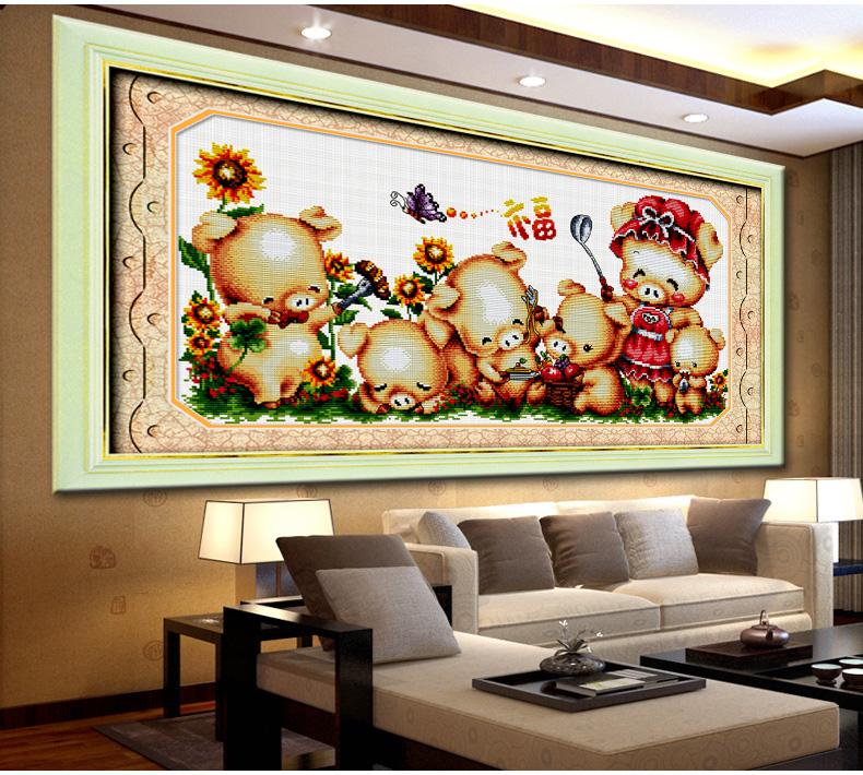 十字绣小猪一家可爱儿童房卡通动漫卧室新款动物系列客厅印花餐厅挂画