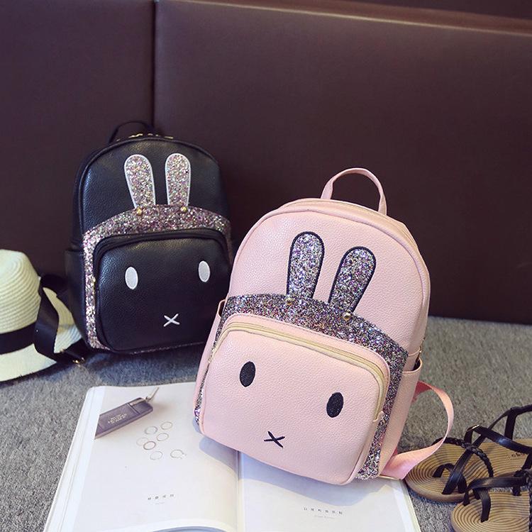 海颜坊新款双肩女包 女背包兔子耳朵双肩背包韩版学院图片