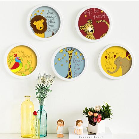 腾彩卡通动物圆形装饰画幼儿园挂画儿童房书房有框画卧室宜家简约壁画