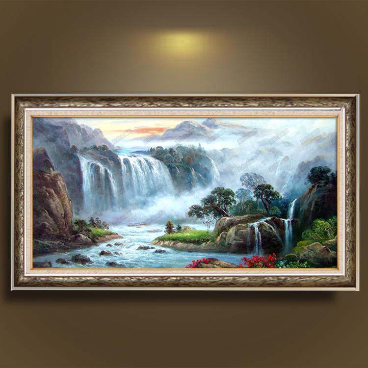 欧式油画纯手绘风景山水瀑布聚宝盆玄关客厅别墅办公室有框画挂画