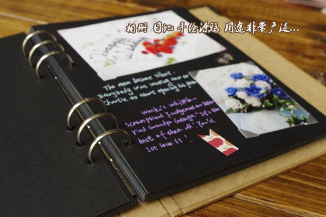 腾彩活页本 相册牛皮纸封面手绘涂鸦日记薄 复古手工diy纪念册 买一份