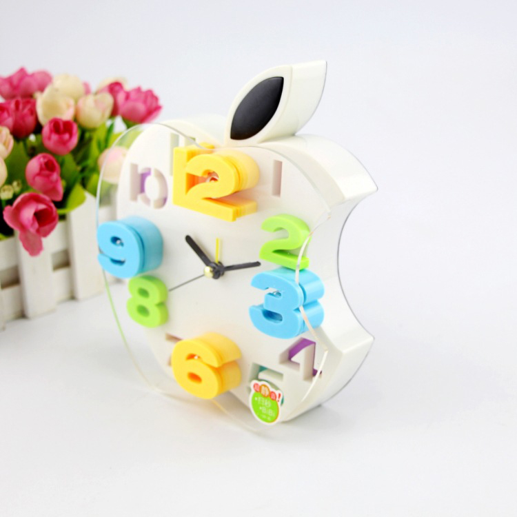佳朵苹果造型挂钟卧室房钟表创意静音简约闹钟学生礼物颜色混发图片