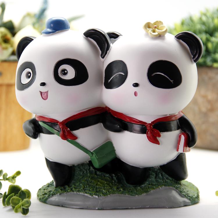 腾彩萌哒哒熊猫勇往直前钱罐可爱大熊猫我们的小时光卡通储蓄罐