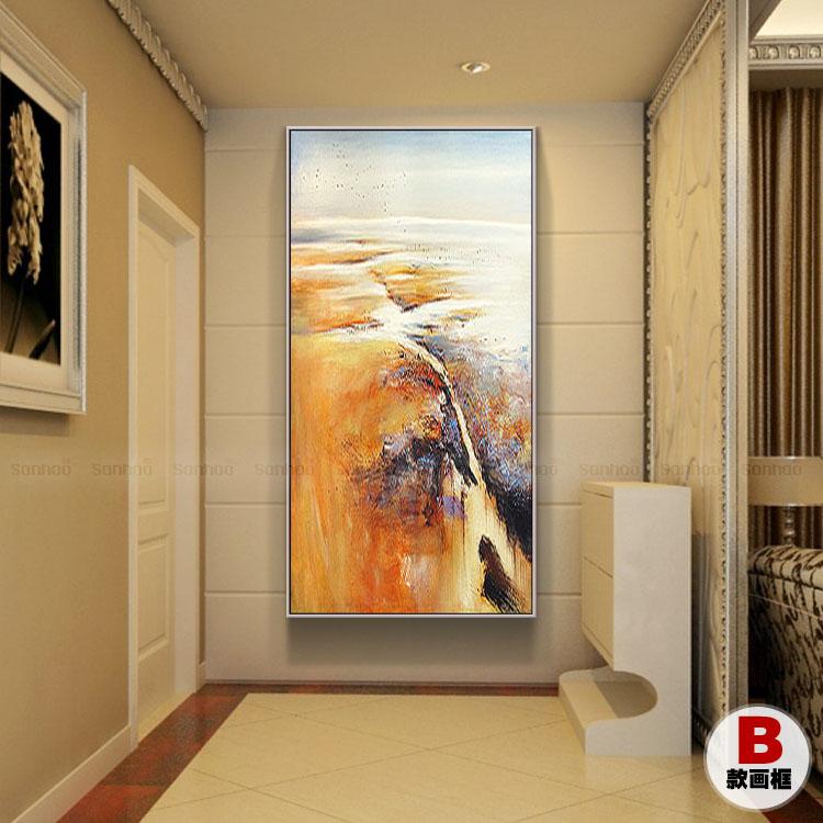 手绘竖幅油画玄关客厅大芬村赵无极抽象画欧式公司前台办公室壁画 d款