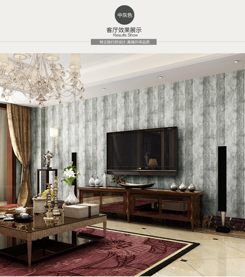 洛蔓壁纸 简约美式乡村仿木纹墙纸卧室客厅电视背景墙图片
