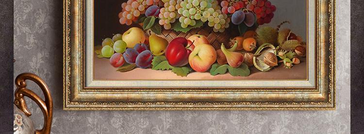 欧式古典餐厅装饰画横款有框油画水果挂画 美式复古家居墙面饰品 精品图片