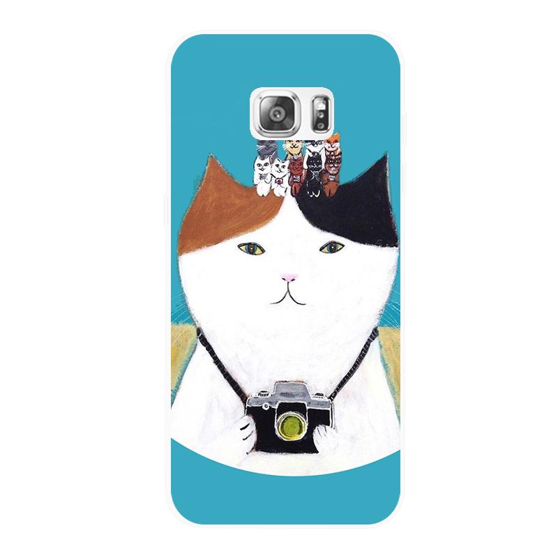腾彩日系手绘插画 可爱小猫咪三星note 3 4 5 s7 s6edge 手机软壳l2