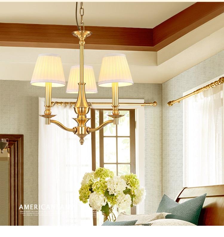 世源美式全铜客厅吊灯欧式铜灯吊灯 简约餐厅卧室别墅图片