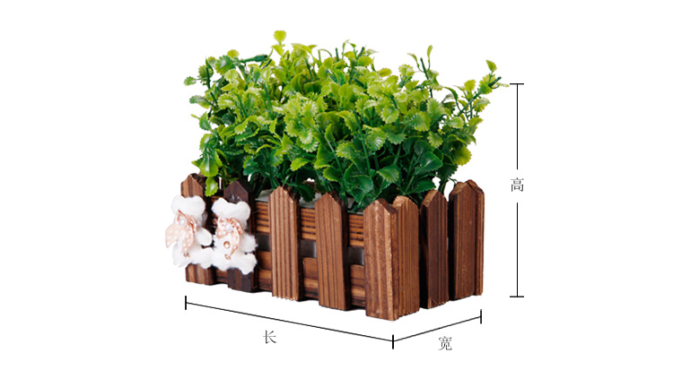 腾彩创意田园栅栏仿真植物小盆栽摆件茶餐厅装饰奶茶店摆设工艺白s3