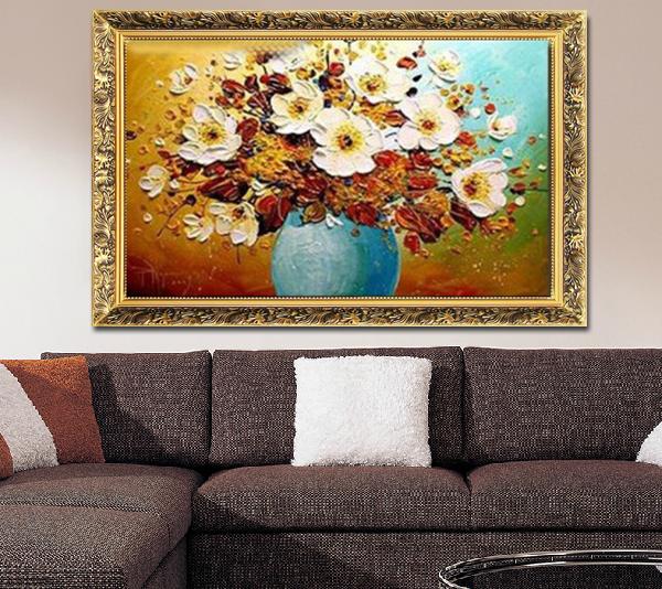 欧式手绘刀画厚油花酒店客厅餐厅过道玄关有框画壁画横版装饰画 金色图片