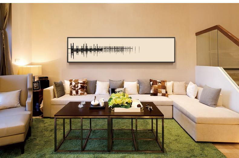 后现代简约抽象纯手绘油画卧室床头客厅墙壁画定制横幅长幅黑白画 c无