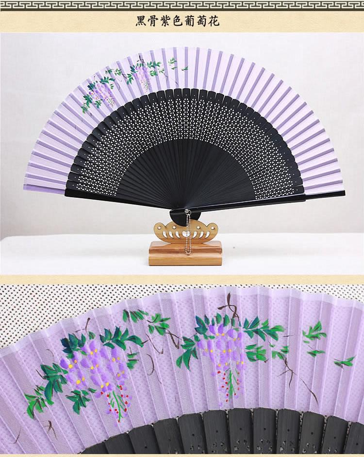 腾彩扇子真丝手绘女扇日式和风工艺礼古风折扇l2