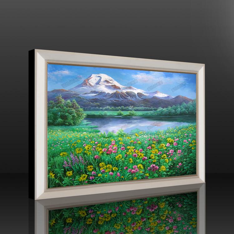 欧式纯手绘油画田园风景花园挂画客厅餐厅沙发背景墙