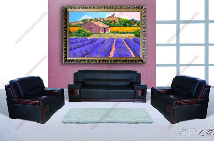 欧式薰衣草现代田园风景纯手绘客厅玄关油画沙发背景卧室简欧挂画 b款图片