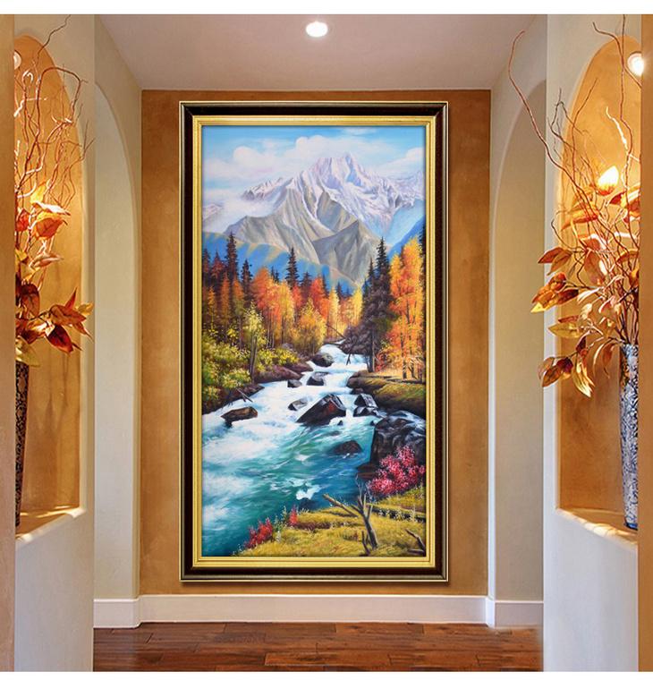 欧式风景手绘油画 风水画山水好画 玄关走廊挂画 楼梯