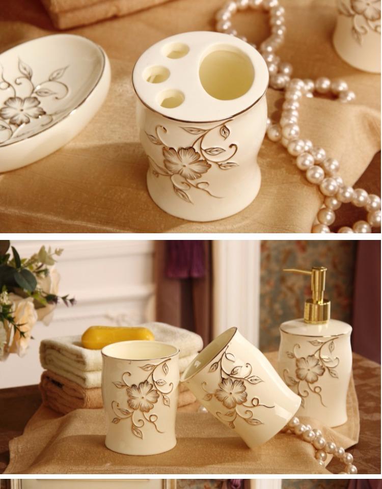 腾彩欧式卫浴五件套装陶瓷洗漱浴室用品牙刷漱口杯具套件结婚礼品j1