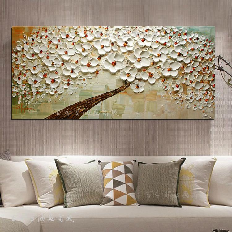 新款纯手绘客厅卧室壁画 玄关装饰画抽象挂画手绘立体油画发财树 银色