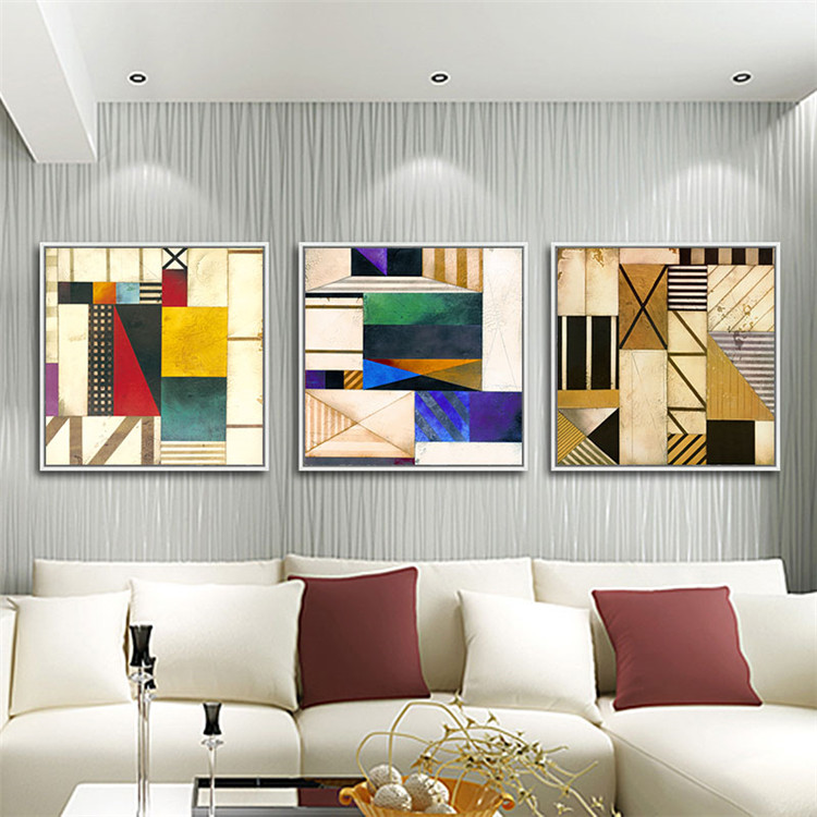 手绘几何抽象艺术油画客厅沙发背景墙装饰画卧室餐厅三联挂画简约 c