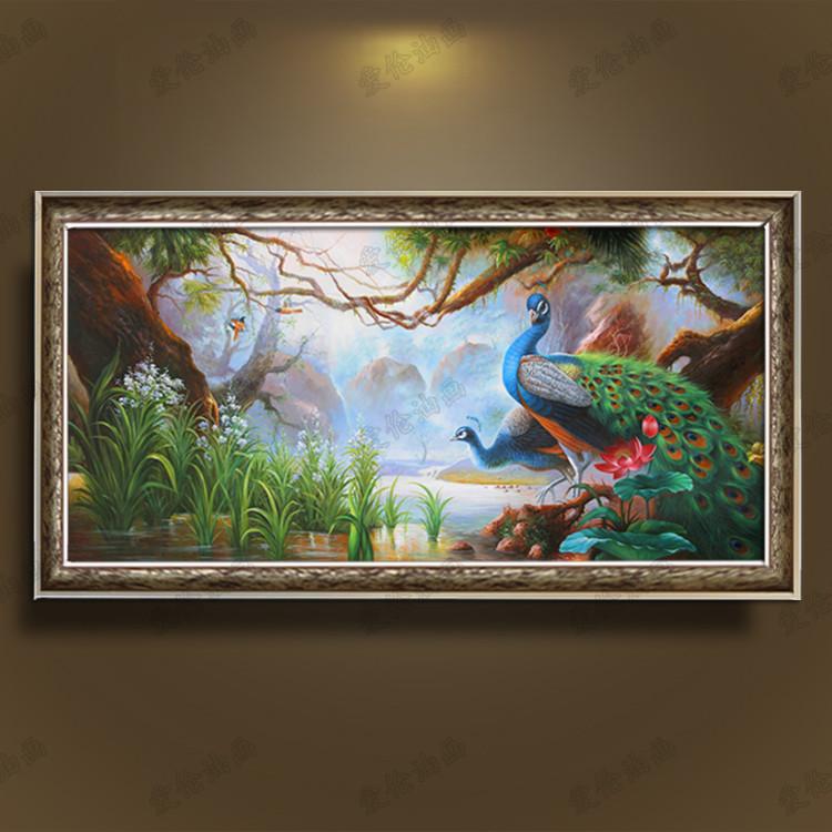孔雀风景风水手绘油画装饰画客厅沙发背景玄关美式卧室有框画挂画