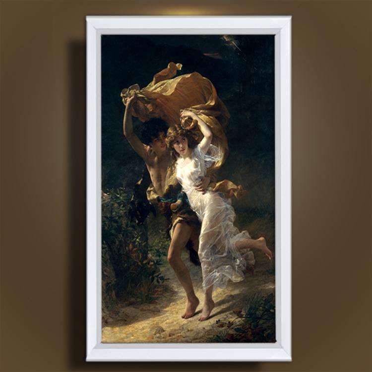 世界名画纯手绘油画风雨后欧式人物肖像客厅玄关油画有框装饰画 金色