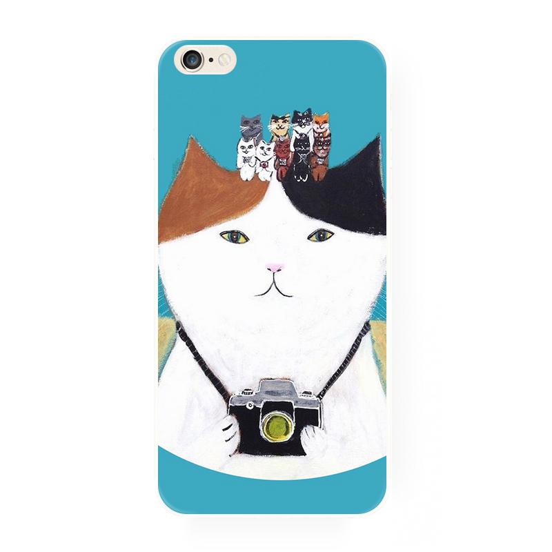 腾彩日系手绘插画 可爱小猫咪苹果iphone6s 5c 4s 6splus手机软壳f5